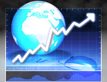 Mouse Earth Connected. Financial background with a globe and a chart Royalty Free Stock Photography