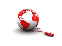 Mouse and earth globe Royalty Free Stock Photography
