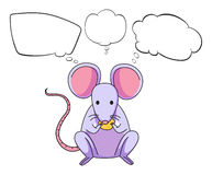 A mouse eating cheese with empty callouts Royalty Free Stock Images