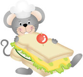 Mouse eating cheese sandwich Stock Photos
