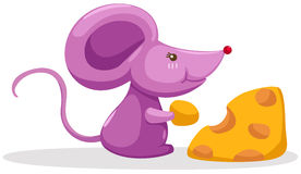 Mouse eating a piece of cheese stock illustration