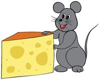 The Mouse Eats Cheese. Happy mouse holding a wedge of cheese Royalty Free Stock Photo