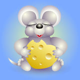 Mouse eats cheese in form heart. On turn blue background Stock Image