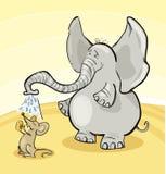 Mouse ed elefante Immagine Stock