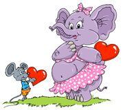 Mouse & Elephant Love - Cartoon Illustration. For lovers Stock Images