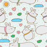 Mouse fat cute seamless pattern Royalty Free Stock Images
