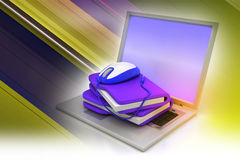 Mouse with file folder. In color background Royalty Free Stock Photography