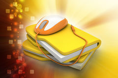 Mouse with file folder. In color background Royalty Free Stock Photos