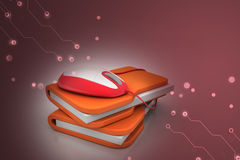 Mouse with file folder. In color background Stock Photos
