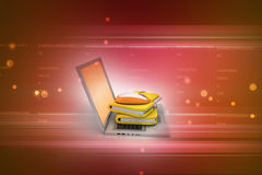Mouse with file folder. In color background Stock Images