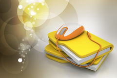 Mouse with file folder. In color background Royalty Free Stock Images