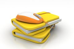 Mouse with file folder. In white background Royalty Free Stock Photo