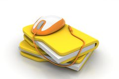 Mouse with file folder. In white background Royalty Free Stock Photos