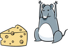 Mouse Finds Cheese Royalty Free Stock Photos