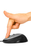 Mouse and finger Stock Image