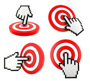 Mouse finger cursor pointing at the target. Set icon of mouse finger cursor pointing at the target Stock Photos