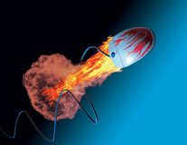 Mouse on fire. Flying mouse on blue background Royalty Free Stock Photography