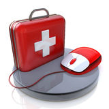 Mouse and First Aid. In the design of the information related to the computer and the Internet Royalty Free Stock Photos