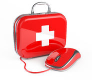 Mouse and First Aid Kit. Render Royalty Free Stock Photos