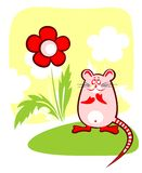 Mouse and flower. The amusing mouse sitting near a red flower Stock Images