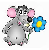 Mouse with flower. Color illustration of mouse with flower Royalty Free Stock Photos