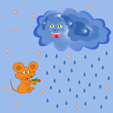 Mouse And Rain Cloud Royalty Free Stock Photography