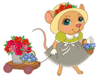 Mouse with flowers Royalty Free Stock Image