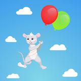 Mouse flying on balloons, vector draw Royalty Free Stock Photo