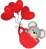 Mouse flying in red cup with heart balloons Royalty Free Stock Photography