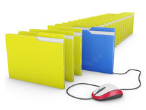 Mouse and folders Royalty Free Stock Images