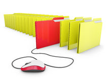Mouse and folders Stock Images