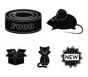 Mouse, food in the bank, sick cat, cat in the box.Cat set collection icons in black style vector symbol stock. Illustration Royalty Free Stock Photography