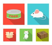 Mouse, food in the bank, sick cat, cat in the box.Cat set collection icons in flat style vector symbol stock. Illustration Royalty Free Stock Photo
