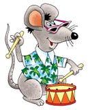 Mouse fun drum Hawaiian shirt sunglasses black Stock Photography