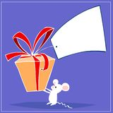 Mouse and gift Stock Images