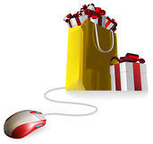 Mouse gift shopping bag Stock Photography