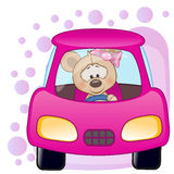 Mouse girl in a car Royalty Free Stock Images