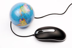 Mouse and globe. Computer mouse and globe isolated background