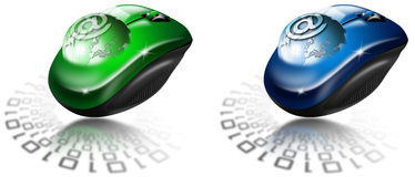 Mouse globe e-mail. Two illustrations with globe coming out of the mouse and sign e-mail Stock Photo