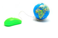 mouse and Globe, global Communication, inter royalty free stock image