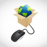 Mouse and globe inside a box illustration Stock Photography