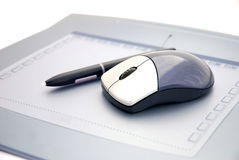 Mouse on graphic tablet Royalty Free Stock Photo