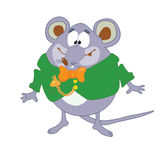 Mouse_in_green_coat. Mouse in green coat and watch Stock Illustration