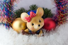 Mouse with guitar. And coloured decorations Stock Photo