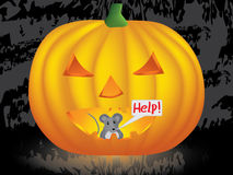 Mouse in Halloween pumpkin. Mouse inside pumpkin crying for help vector illustration Stock Image