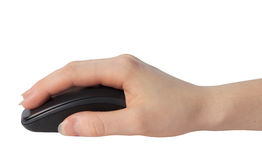 Mouse in a hand. Woman holding a PC mouse Stock Photography