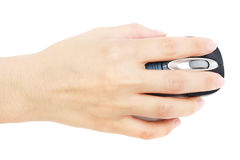 Mouse On Hand. A lady hand using wireless mouse on white background stock photos