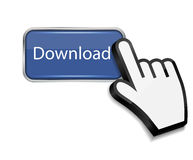 Mouse hand cursor on download button vector Royalty Free Stock Photos