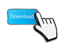 Mouse hand cursor on download button vector Royalty Free Stock Image