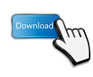 Mouse hand cursor on download button vector Royalty Free Stock Photography
